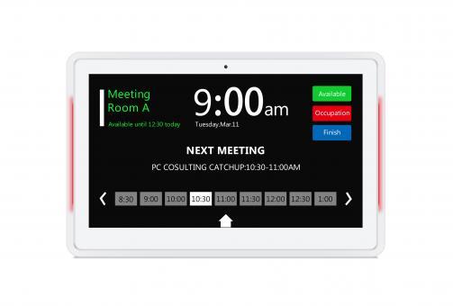 13,3 Zoll (33,5 cm) Digitales Türschild mit LED Farbleisten; Weiß